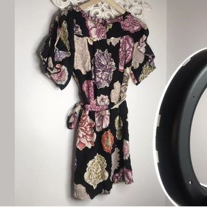 Leifsdottir m Black Floral Belted Tunic Dress 4
